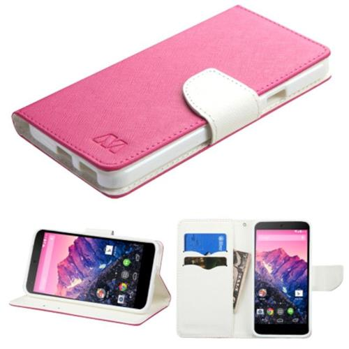 Insten Folio Leather Fabric Case w/stand/card holder For LG Google Nexus 5X - Hot Pink/White