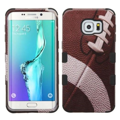 Insten Tuff Football Hard Hybrid Rubber Silicone Case For Samsung Galaxy S6 Edge Plus - Brown/Black