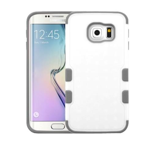 Insten Fitted Hard Shell Case for Samsung Galaxy S6 Edge - White;Gray