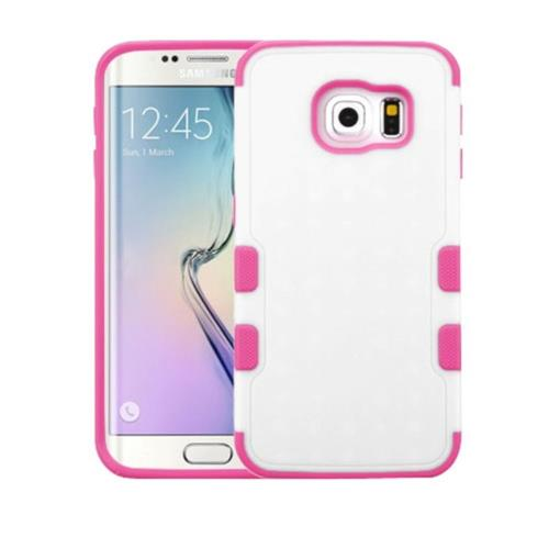 Insten Fitted Hard Shell Case for Samsung Galaxy S6 Edge - Hot Pink;White