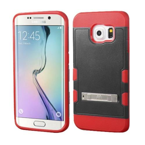 Insten Hard Rubber Coated Silicone Cover Case w/stand For Samsung Galaxy S6 Edge - Black/Red