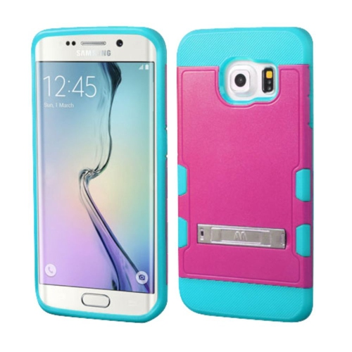 Insten Hard Silicone Cover Case w/stand For Samsung Galaxy S6 Edge - Hot Pink/Blue