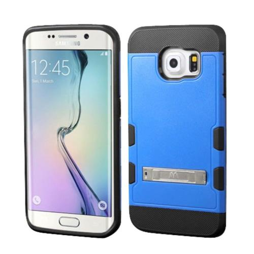Insten Hard Rubber Coated Silicone Case w/stand For Samsung Galaxy S6 Edge - Blue/Black