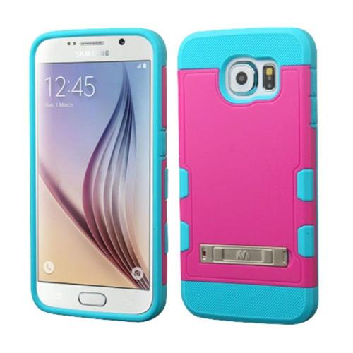 Insten Hard Rubber Coated Silicone Cover Case w/stand For Samsung Galaxy S6 - Hot Pink/Teal