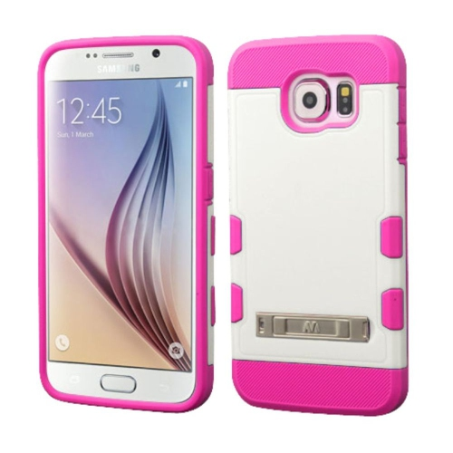 Insten Hard Rubber Silicone Cover Case w/stand For Samsung Galaxy S6 - Hot Pink/White