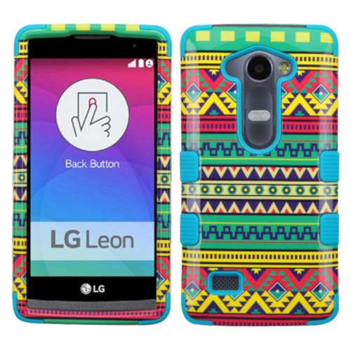 Insten Tuff Tribal Sun Hard Hybrid Rubber Coated Silicone Cover Case For LG Leon/Tribute 2 - Green