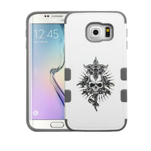 Insten Tuff Merge Furious Skull Hard Rubberized Cover Case For Samsung Galaxy S6 Edge - White/Black