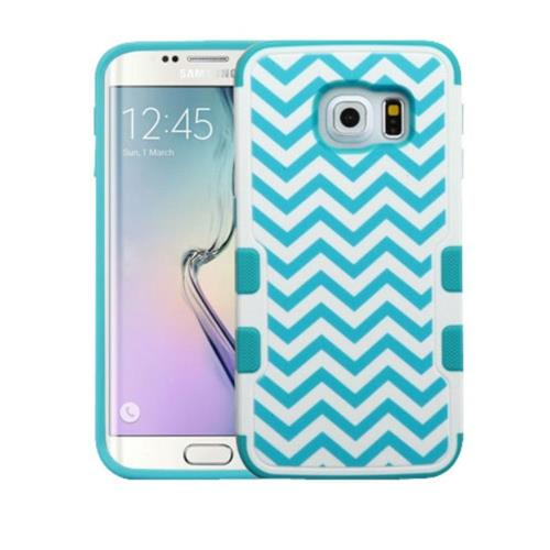 Insten Tuff Merge Wave Hard Rubber Case For Samsung Galaxy S6 Edge - Blue/White