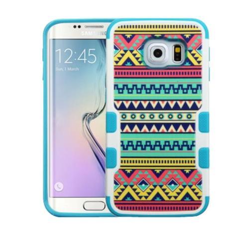 Insten Tuff Merge Tribal Sun Hard Rubberized Case For Samsung Galaxy S6 Edge - Green/Blue