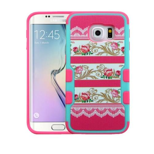 Insten Damask Flower Hard Cover Case For Samsung Galaxy S6 Edge - Hot Pink