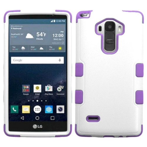 Insten Tuff Hard Dual Layer Rubberized Silicone Case For LG G Stylo LS770 - White/Purple
