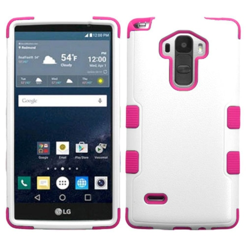 Insten Hard Dual Layer Rubberized Silicone Case For LG G Stylo LS770 - White/Hot Pink