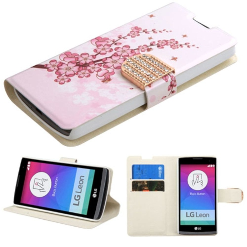 Insten Spring Flowers Folio Leather Fabric Case w/stand/card holder/Diamond For LG Leon, Pink/Blue