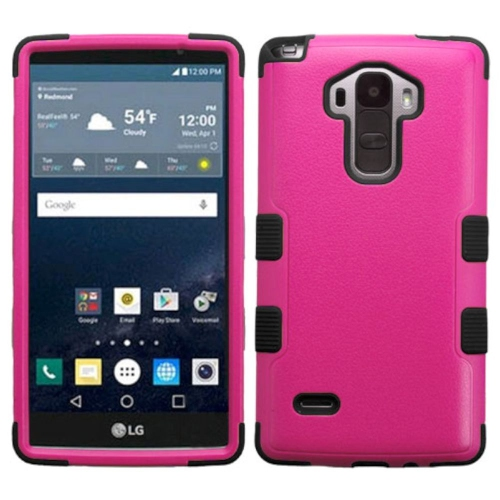 Insten Tuff Hard Dual Layer Rubberized Silicone Case For LG G Stylo LS770 - Hot Pink/Black