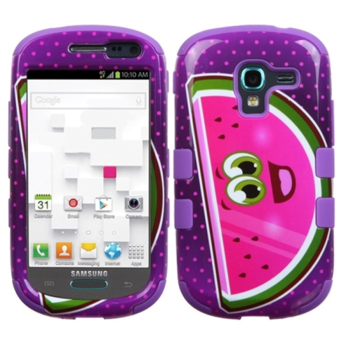 Insten Watermelon Hard Hybrid Rubber Silicone Case For Samsung Galaxy Exhibit T599, Purple/Hot Pink