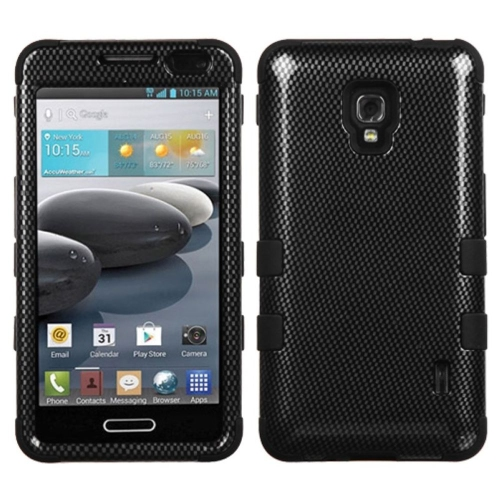 Insten Tuff Carbon Fiber Hard Hybrid Rubber Silicone Case For LG Optimus F6 MS500 - Black