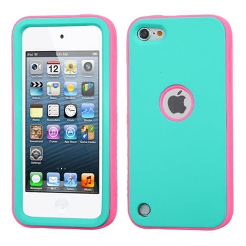 Insten Verge Hybrid Rubber Silicone Case For Apple iPod Touch 5th Gen/6th Gen, Turquoise/Hot Pink