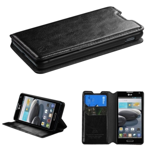 Insten Synthetic Leather Case w/stand/card holder For LG Optimus F6 MS500 - Black