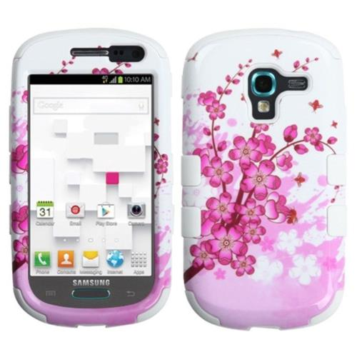 Insten Spring Flowers Hard Rubber Coated Cover Case For Samsung Galaxy Exhibit T599, White/Pink