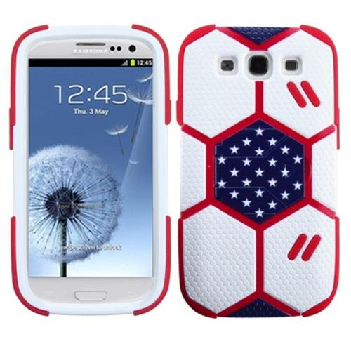 Insten Goalkeeper Hard Hybrid Matte Silicone Cover Case w/stand For Samsung Galaxy S3 - White