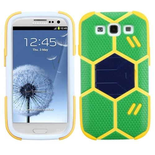 Insten Goalkeeper Hard Dual Layer Matte Silicone Case w/stand For Samsung Galaxy S3 - Green