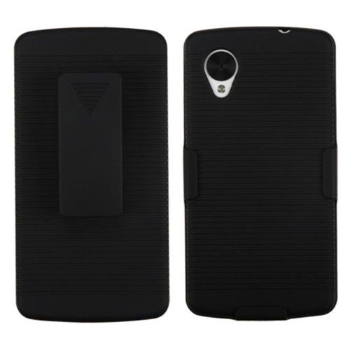 Insten Hard Rubber Coated Case w/Holster For LG Google Nexus 5 D820 - Black