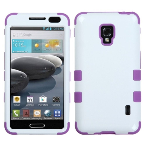 Insten Tuff Hard Hybrid Rubber Silicone Case For LG Optimus F6 MS500 - White/Purple