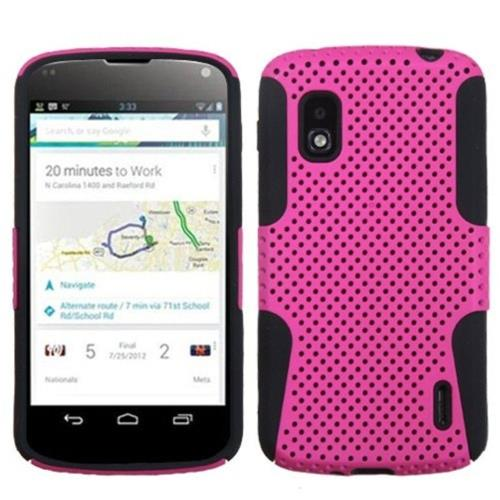 Insten Astronoot Mesh Hard Hybrid Rubber Silicone Case For LG Google Nexus 4 E960, Hot Pink/Black
