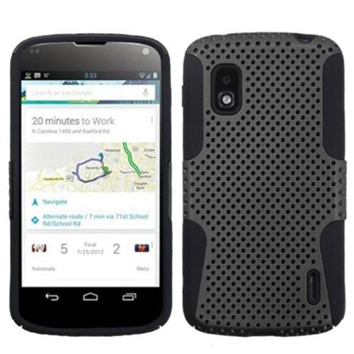 Insten Astronoot Mesh Hard Dual Layer Silicone Case For LG Google Nexus 4 E960 - Gray/Black
