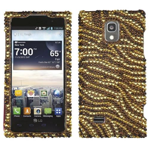 Insten Tiger Skin Hard Bling Case For LG Spectrum II 4G - Brown