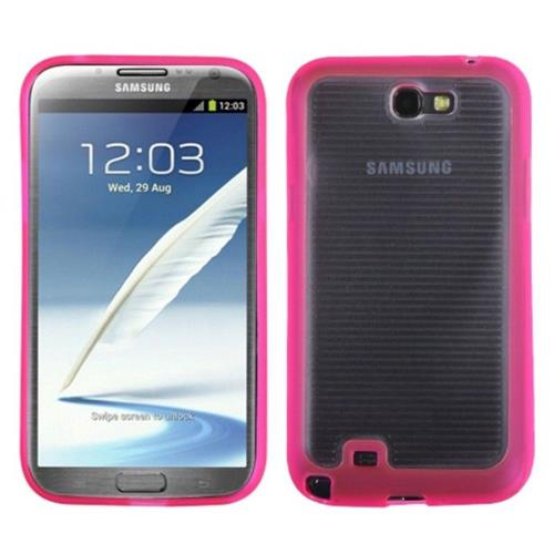 Insten Gel Cover Case For Samsung Galaxy Note II - Clear/Hot Pink