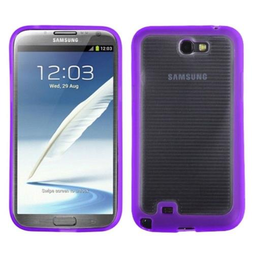 Insten Gummy Gel Cover Case For Samsung Galaxy Note II - Clear/Purple