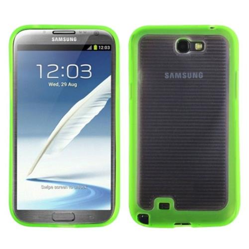 Insten TPU Case For Samsung Galaxy Note II - Clear/Neon Green
