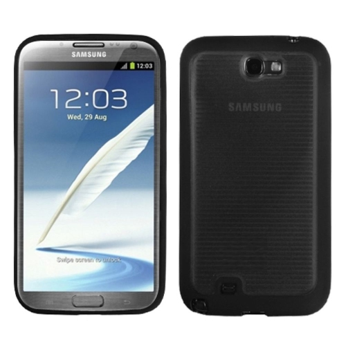 Insten Gel Transparent Cover Case For Samsung Galaxy Note II - Smoke/Black