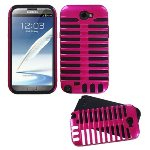 Insten Fusion Microphone Hard Dual Layer Silicone Case For Samsung Galaxy Note II - Pink/Black