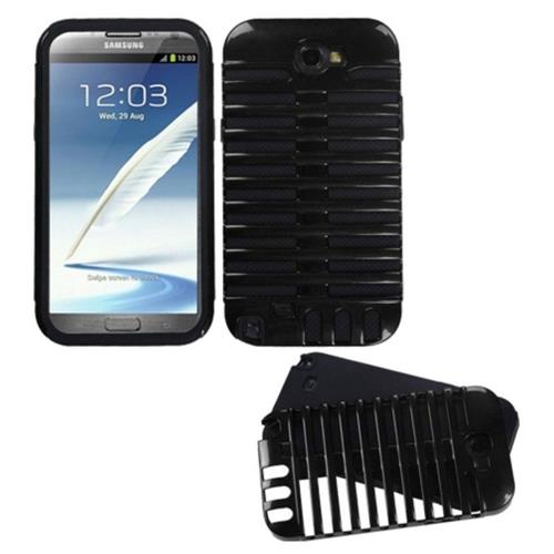 Insten Fusion Microphone Hard Dual Layer Silicone Cover Case For Samsung Galaxy Note II - Black
