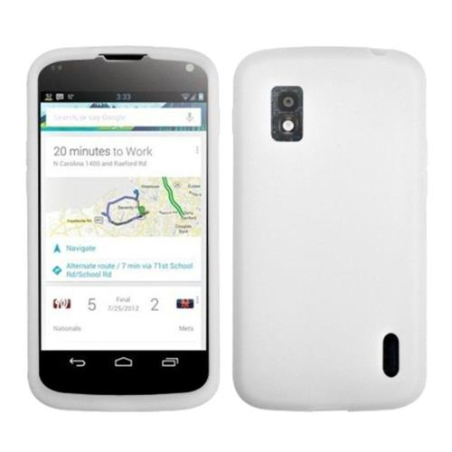 Insten Rubber Cover Case For LG Google Nexus 4 E960 - White