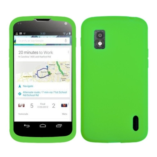 Insten Rubber Cover Case For LG Google Nexus 4 E960 - Green