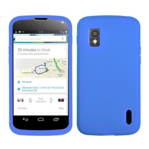 Insten Gel Rubber Cover Case For LG Google Nexus 4 E960 - Blue