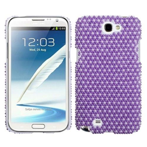 Insten Dots Hard Bling Case For Samsung Galaxy Note II - Purple/White