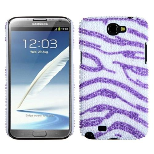 Insten Zebra Hard Bling Cover Case For Samsung Galaxy Note II - Purple/White