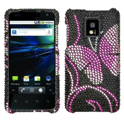 Insten Butterfly Hard Bling Cover Case For LG G2x - Black/Pink