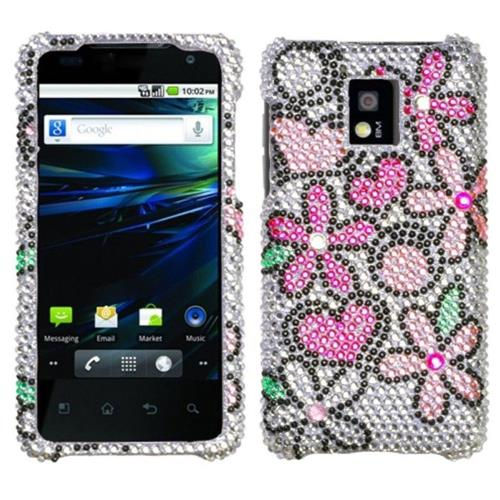 Insten Fantastic Flowers Hard Bling Cover Case For LG G2x - Pink/White