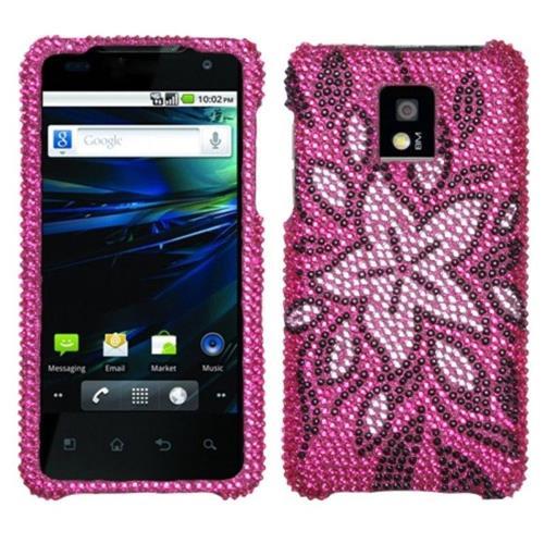 Insten Tasteful Flowers Hard Diamond Case For LG G2x - Hot Pink/Light pink
