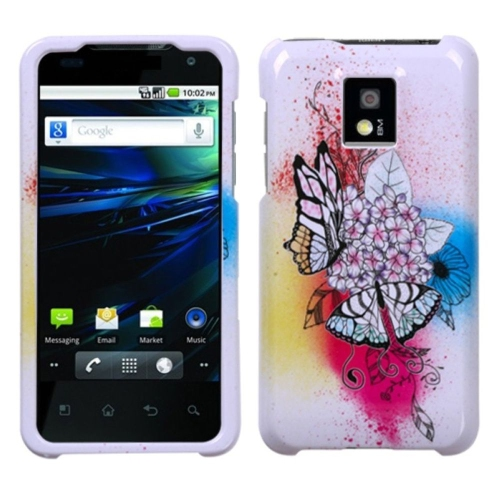 Insten Butterfly Hard Cover Case For LG G2x - Colorful/White