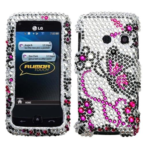 Insten Butterfly Hard Rhinestone Case For LG Banter Touch/Rumor Touch - White/Pink