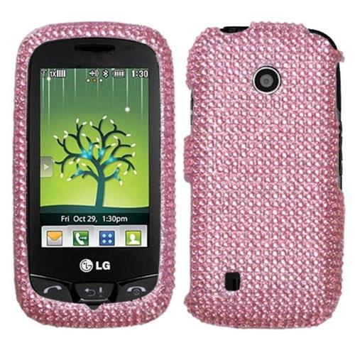 Insten Hard Diamante Cover Case For LG VN270 Cosmos Touch - Pink