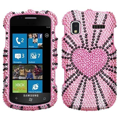 Insten Fervor Heart Hard Diamond Case For Samsung Focus - Pink/Black