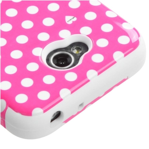 Insten Dots Hard Hybrid Rubber Case For LG Optimus Exceed 2 VS450PP Verizon/Optimus L70, Pink/White