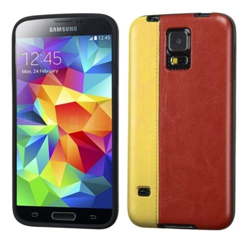 Insten Leather Hard Case For Samsung Galaxy S5 - Brown/Yellow